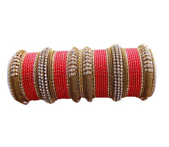 Red Color #Designer #Bangles #Indian #Bracelet Set  by Shoppingover