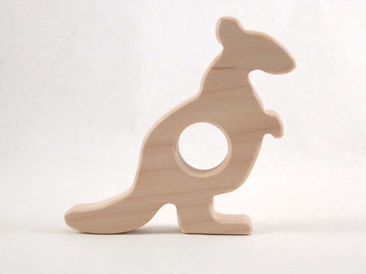 THinking a little outside the box for party favors or a fantastic gift for new baby! Kangaroo Wooden Teether - Organic Wooden Teething Baby Toy by Bannor Toys. $12.00, via Etsy.