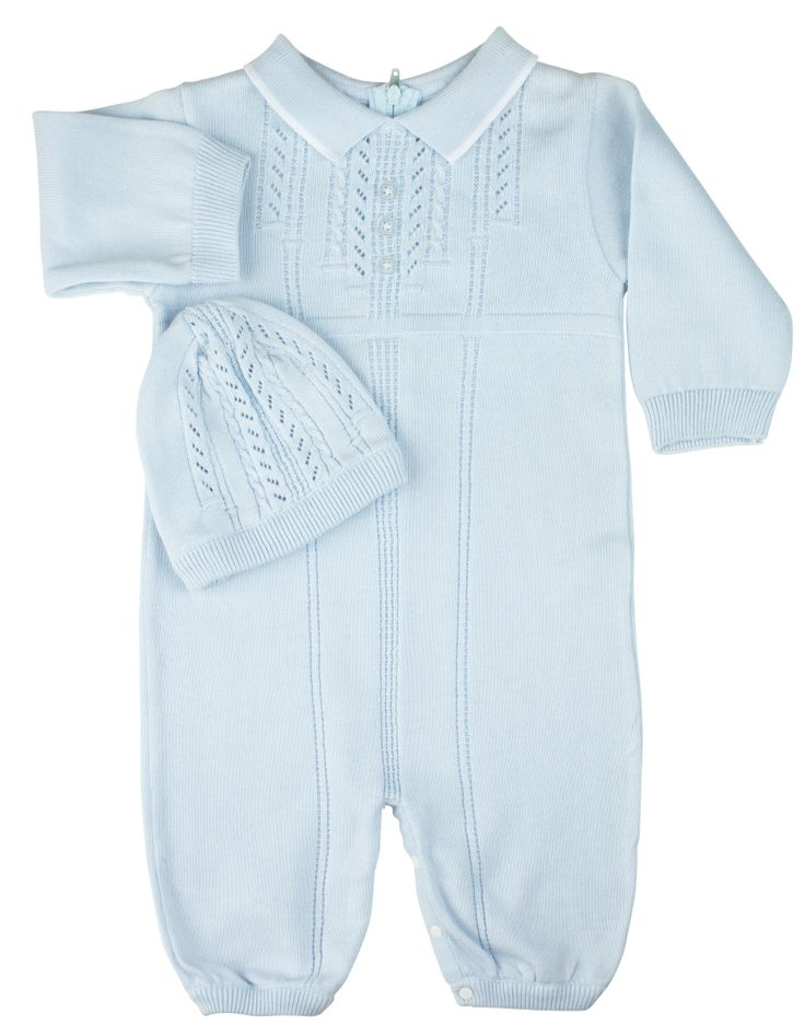 Feltman Brothers baby boy 2-piece blue knit romper with matching hat. Cozy and warm, perfect for winter! Makes a great baby gift! http://www.feltmanbrothers.com/sweater-knit-romper-with-hat/