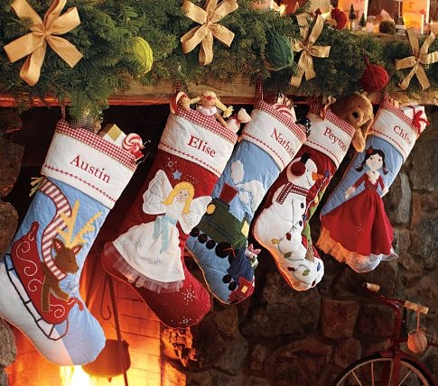 Quilted Christmas Stockings. #potterybarnkids