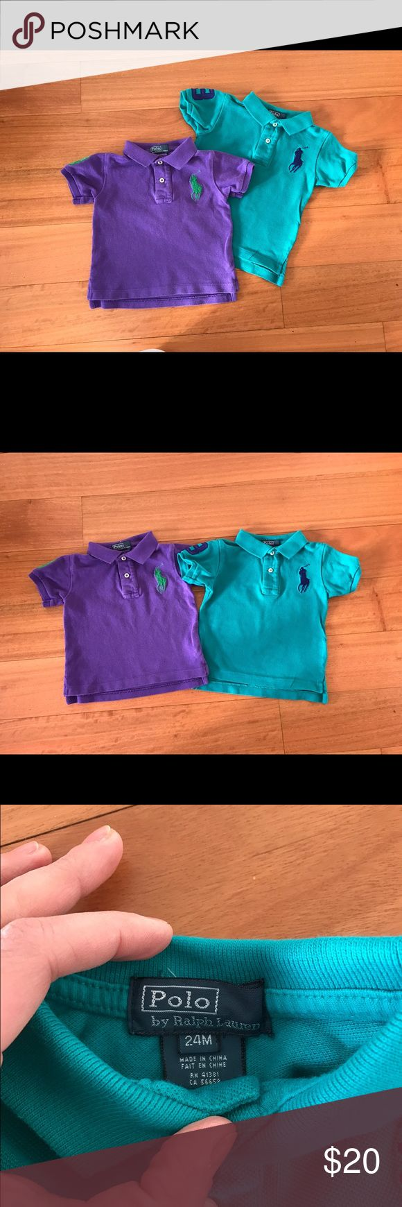 Two baby polo shirts size 24 months. Great condition, no stains. Teal and purple polos. No trades, sorry. Ralph Lauren Shirts & Tops Polos