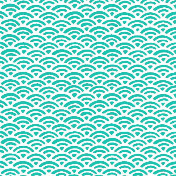 Papier Japonais Washi, sérigraphie de vagues menthes et blanches - Adeline Klam