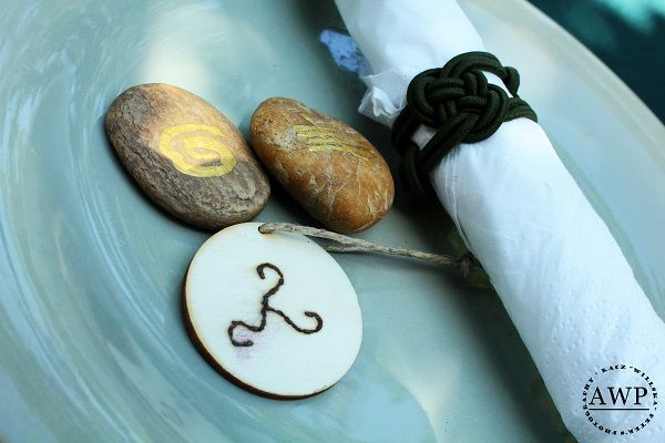 menta plate with painted stones and celtic knot napkin ring