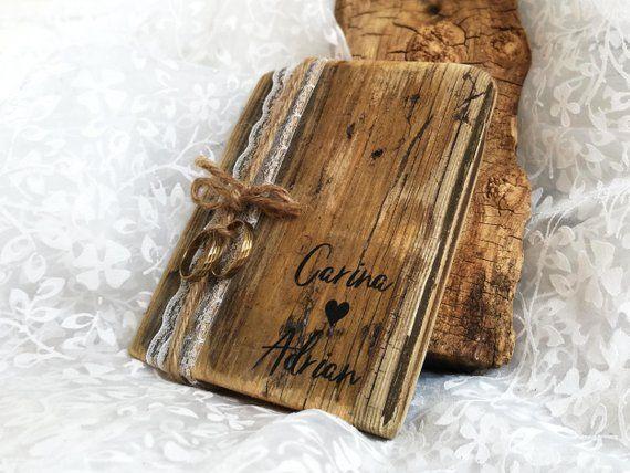 Hochzeit Herz Ringkissen Kebony Holz Vintage Individuell