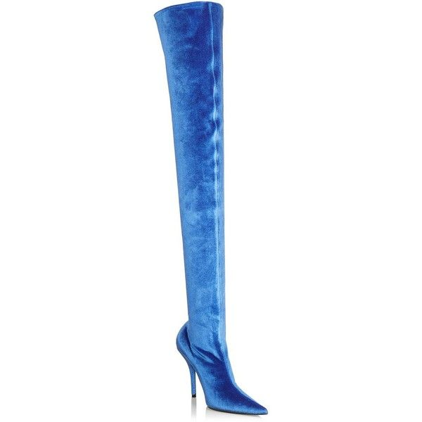 Balenciaga Stretch Velvet Over-The-Knee Boots ($1,395) ❤ liked on Polyvore featuring shoes, boots, stretch over the knee boots, thigh high boots, pointy-toe boots, slip on boots and stretch boots