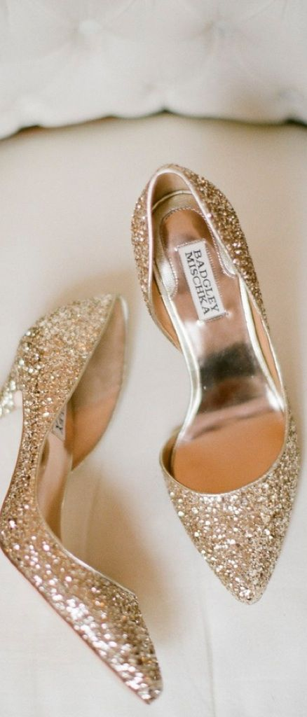 sparkly gold glitter wedding shoes