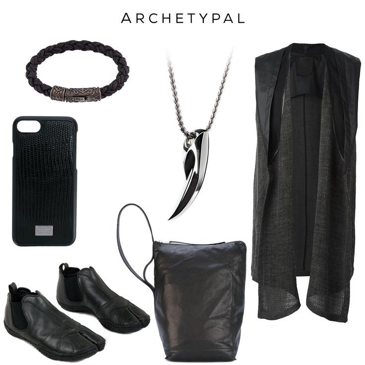 Archetypal - Stylish since the dawn of time // Clockwise: Braided Bracelet by NIALAYA, FENRIR pendant by @svorndesign, Sleeveless Cardigan by LOST & FOUND RIA DUNN, Bucket Shoulder Bag by RICK OWENS, Tabi Boots by AYYA, Snake skin effect iPhone 6 Case by DOLCE & GABBANA //  #style #goth #black #darkfashion #darkstyle #luxury #fashion #accessoriesmen #accessoriesformen #fashionaccessories #accessories #mensgoods #avantgarde #blackart  #allblack #allblackeverything #nickel #chrome #noir #bag