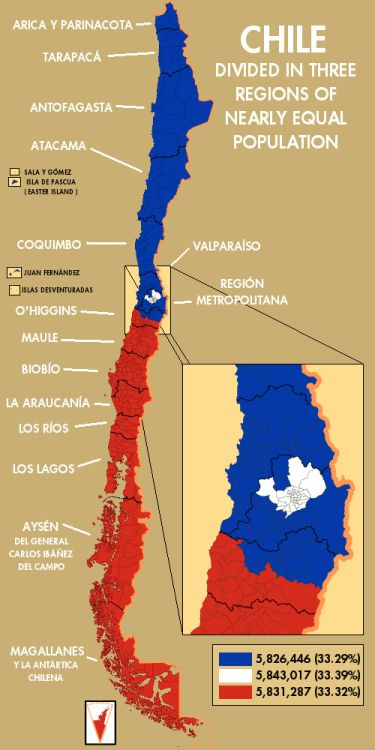 - Chile divided in three regions of nearly-equal...