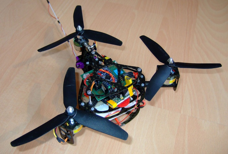 "This micro air vehicle is an open source project. Three MEMS gyroscopes and a two axis MEMS accelerometer are used as sensors. It performs very well in aerobatics (""acro mode""), but it can also hover on its own (""hover mode"")."