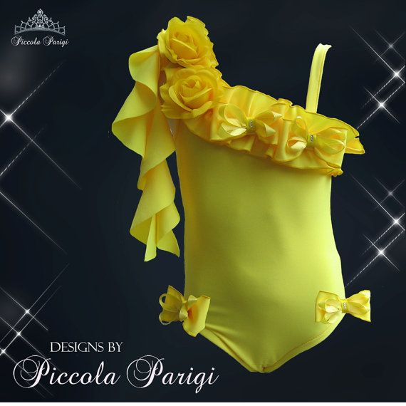 New Amazing Piccola Parigi National Pageant swimwear swimsuit in Yellow
