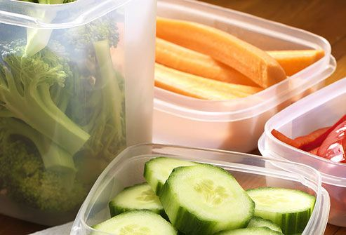 Raw vegetables  Raw vegetables make an outstanding snack. They satisfy the desire to crunch, they're full of water to help you feel full, and they're low in calories. A portion of diced celery has just eight calories. Leslie Bonci suggests coating celery with a little peanut butter or dunking carrots in salsa. When you're in the mood for nachos and dips, try replacing the nachos with raw veg.
