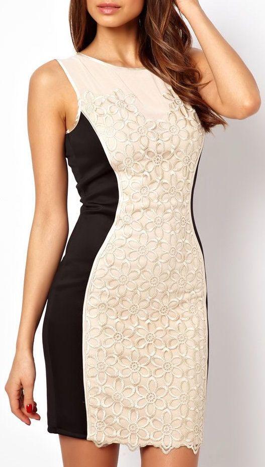 White + Black Floral Bodycon Dress <3