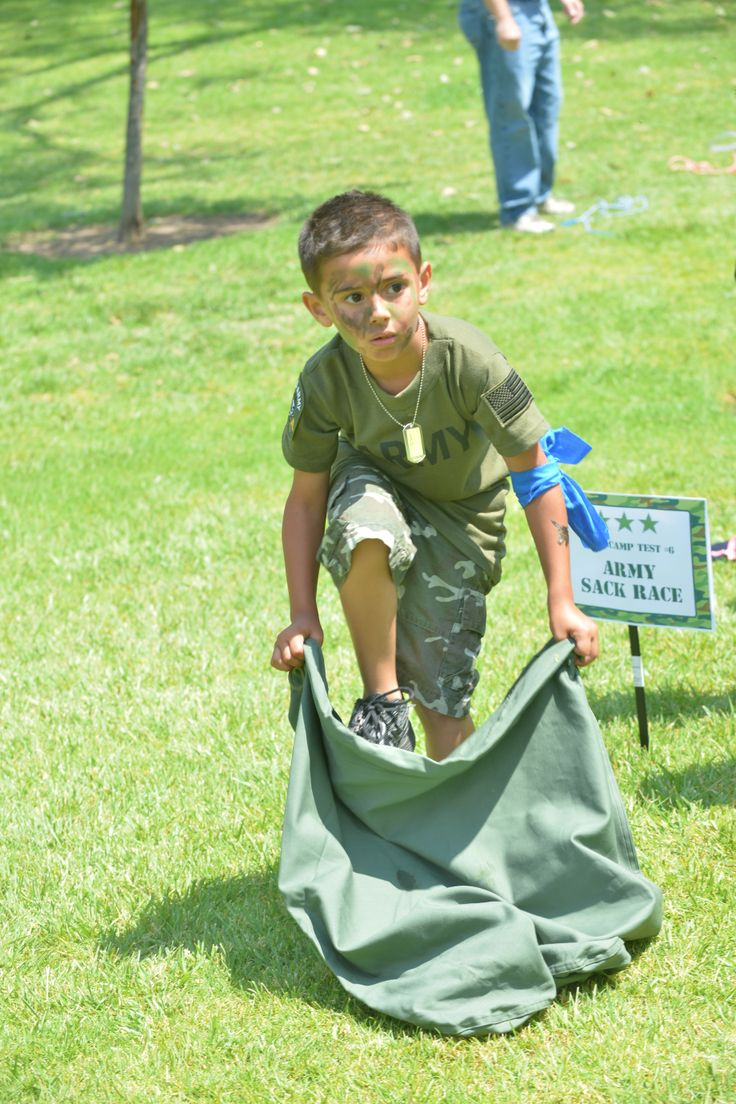 Boot Camp:  Army Sack Race  Went to the Army surplus store to purchase army laundry bags to use as the sack race