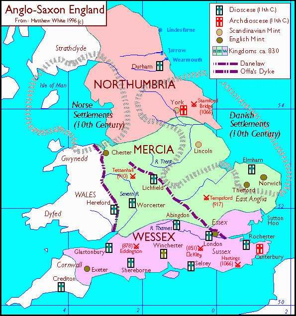 Map of Anglo Saxon Enland: Northumbria, Mercia, Wessex | Genealogy