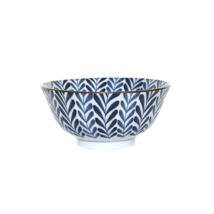 blue and white, fern patterned bowl, perfect for soup. dishwasher and microwave safe.