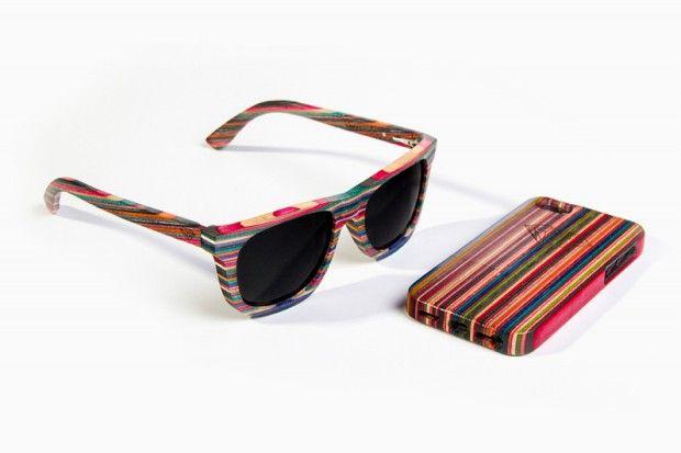 Óculos escuros e capa para iPhone feitos com madeira reciclada de skate. GR8 !