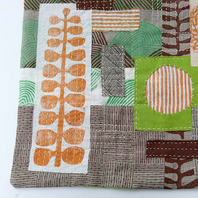 """Untitled No. 6 - hand-embroidered textile collage by Jen Hewett. Block printed and silkscreened fabric. 14.5 x 19."""""""