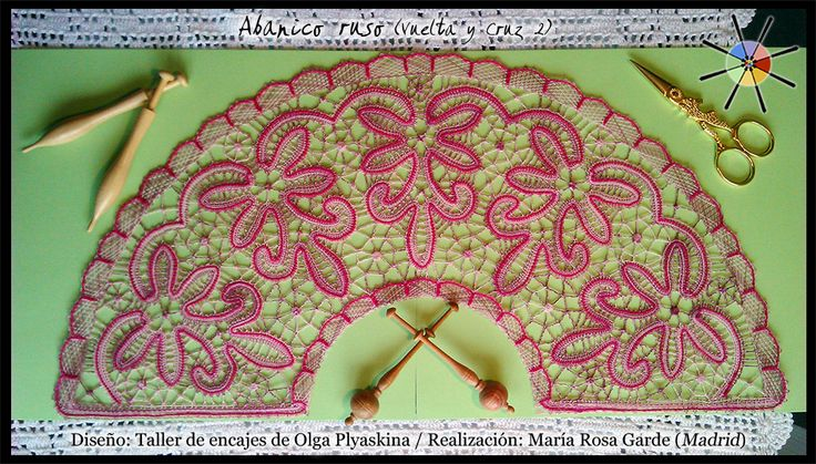 """Abanico de flores"", de la revista de bolillos Vuelta y Cruz Nº2. --- ""Flower fan"", from N.2 of Twist and Cross bobbin lace magazine."