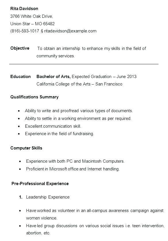 College Application Resume Outline