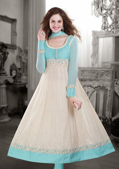 USD 194.33 Beige Net Anarkali Suit   35914