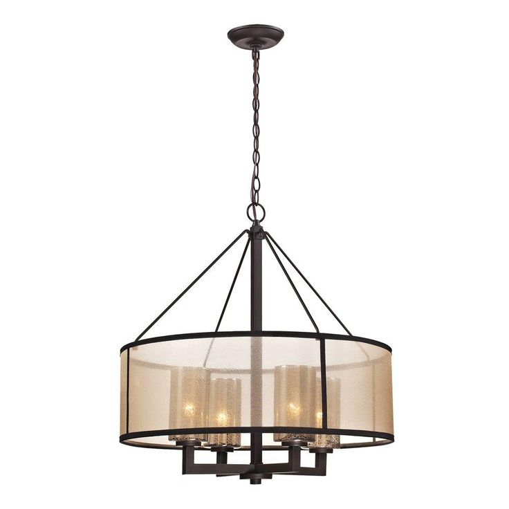This oil-rubbed bronze chandelier showcases a combination of modern and classical design. Its beige organza drum shade diffuses light and creates a comforting ambiance. The simple metalwork gives the it a clean and bold appearance. One of The Home Depot's most pinned products.
