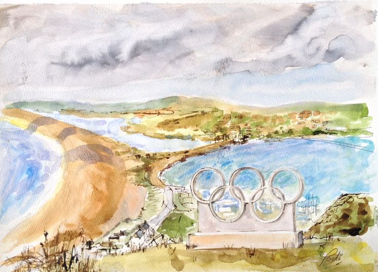 Chesil Beach through the Olympic Rings on Top Hill, Portland