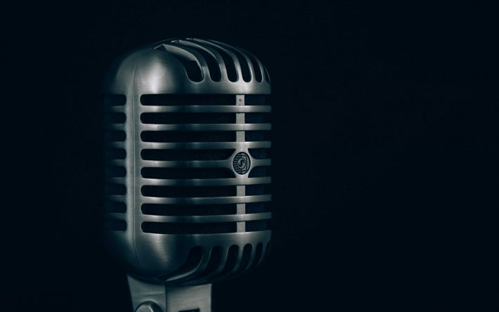 Download wallpapers old microphone, 4k, retro, black background, microphone