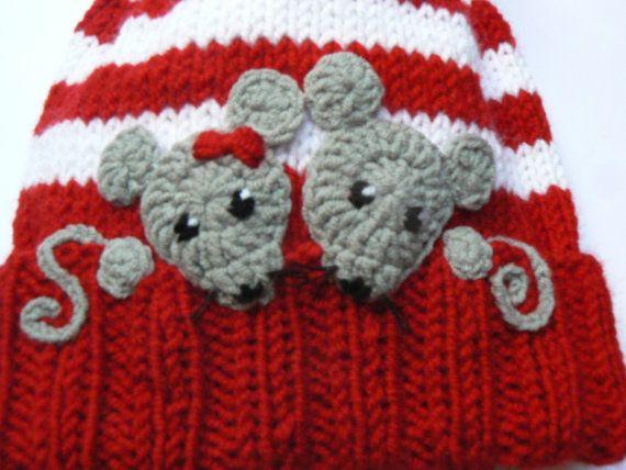 Girls Winter Hat Pom Pom Hat Knit Hat Mouse Mice Hat by 2mice