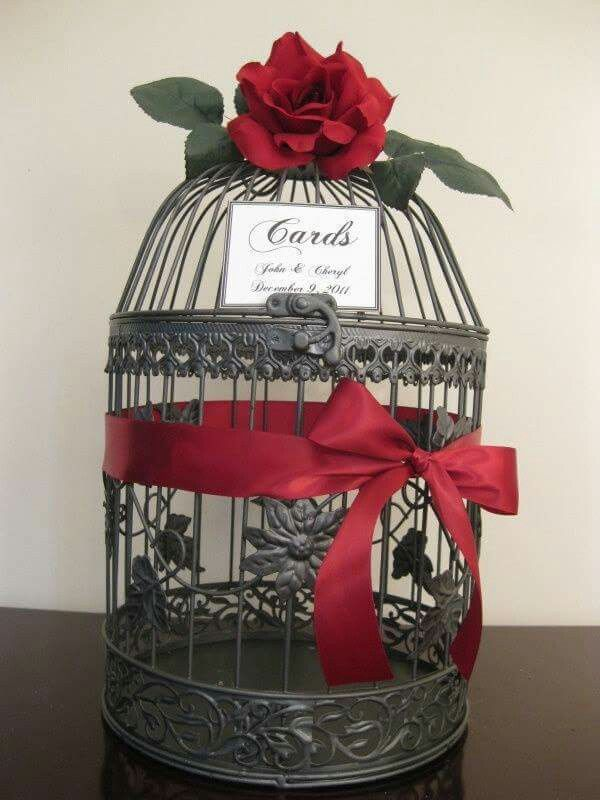 Bird cage wedding card holder.