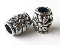 4 Perle a foro largo argento tibetano