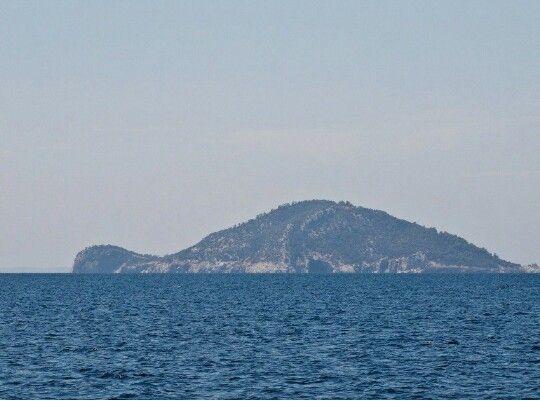 The sea turtle shaped Kelyphos island, Neos Marmaras, Chalkidiki, Greece