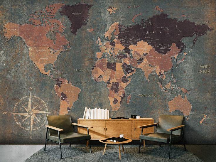 Fototapeta MAPA ŚWIATA 350x245 k-A-0057-a-b - artgeist - Tapety #fototapeta #tapeta #wallpaper #map #art #world #mapa #świat
