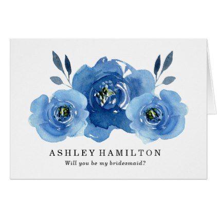 #Indigo Flowers | Wedding Party Card - #wedding #bridesmaid #proposal #floral #flower #flowers #celebration #beautiful