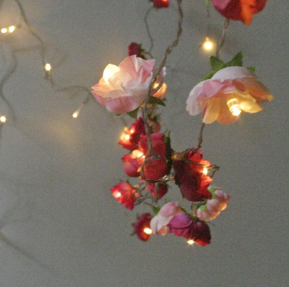 RESERVED for blythefairjsj - Bohemian Garden Mixed Rose Fairy Lights  Pretty Flower String Lighting in Red and Pinks