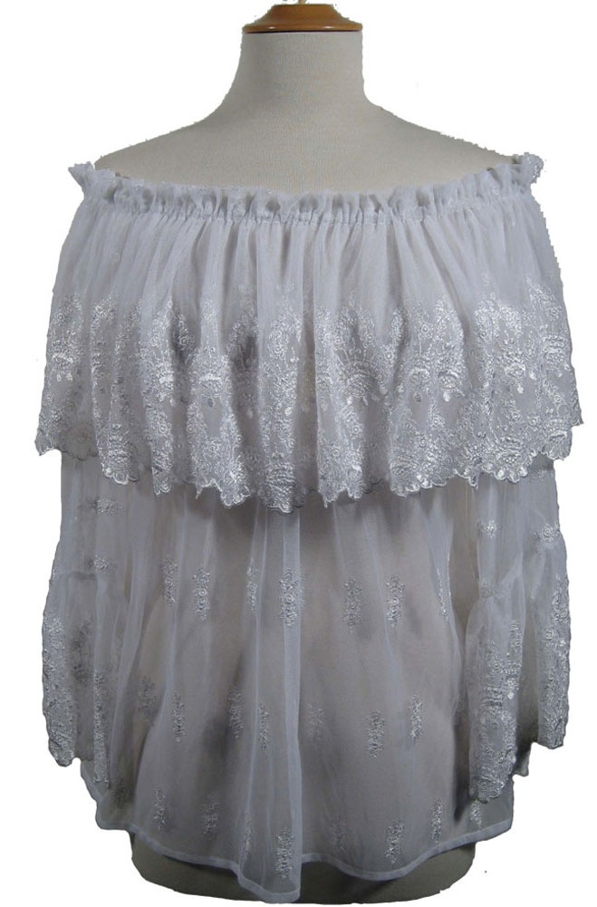 A beautiful Western Wedding Peasant Top in imported French Lace can be worn off or on shoulder. The neckline has elastic for comfort and the ruffle around the neckline is embroidered all around. This is one of the most exquisite peasant tops fit for a Cowgirl Wedding. The sleeves are very unusual with the same embroidered rulle gracing down the arm. You c...