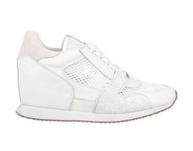 Baskets compens es blanches cuir dean mesh nappa wax ash prix baskets femme monshowroom for Baskets blanches femme