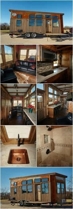 """The Manliest Tiny House Called the Bushwhacker is Up for Grabs! {14 Photos} A lot of the tiny houses that we see are geared more towards the female fan base or are at least more neutral in nature. But this tiny house in Fort Scott, Kansas breaks the mold and is decidedly masculine! Called the Bushwhacker, this 24-foot-long, 8'6"""" wide tiny house was designed by Cabin MFG with the hunter in mind."""