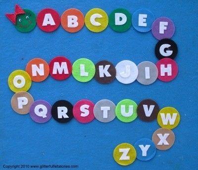 Alphabet felt caterpillar. Toddler can put caterpillar together in aplhabetical order on felt board.