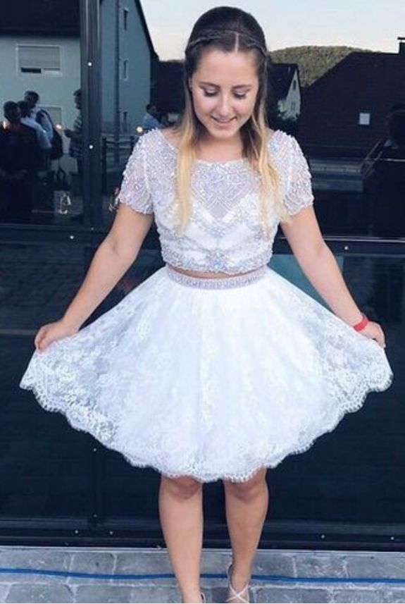 Two Pieces Homecoming Dresses,Cute Dresses,Sparkly Homecoming Dresses