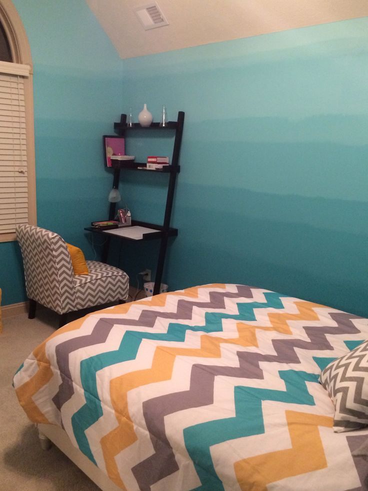 Ombr And Chevron Teen Bedroom Dream Rooms Pinterest