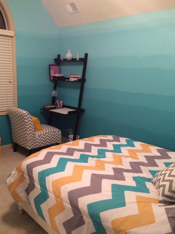 Elegant Ombré And Chevron Teen Bedroom