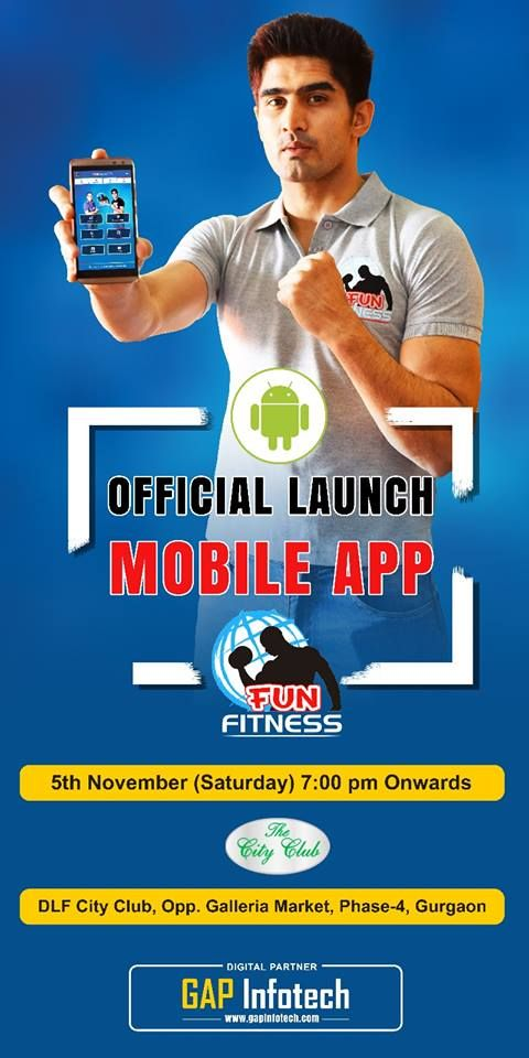 """Official Launch of """"First ever Gym Android App"""" by great boxer Vijender Singh in DLF City Club. Developed by GAP Infotech Team.-  Top web design company gurgaon"""