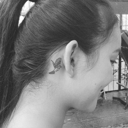 Fine line style nightingale tattoo behind the ear. Tattoo...