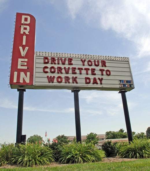 Drive Your Corvette to Work sign at Mid America Motorworks. The message changes, but this vintage drive-in sign is always worth a stop! www.mygaragemuseum.com