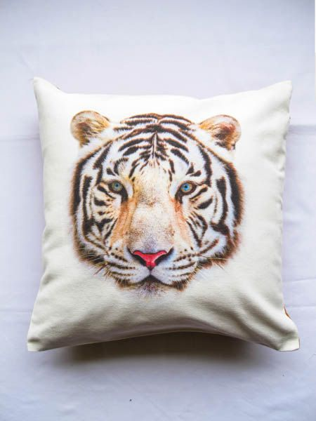 White tiger Decorative pillow cover retro style by SakaraStyle, ฿450.00