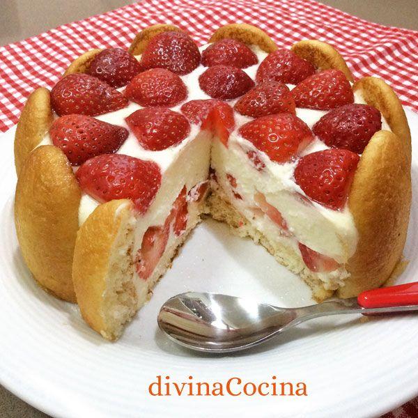 Esta receta de charlota de fresas se puede preparar con muchos rellenos y texturas diferentes. Hemos usado queso y yogur pero te damos otras ideas.