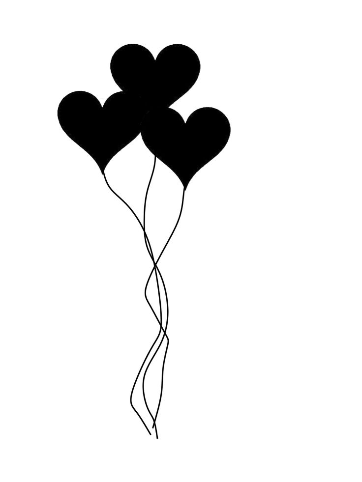 Heart Balloons Silhouette