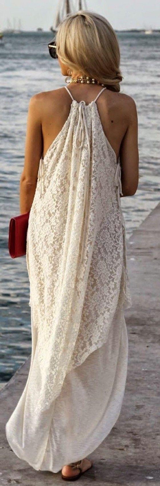 White Patchwork Condole Belt Cut Out Irregular Lace Off Shoulder Maxi Dress
