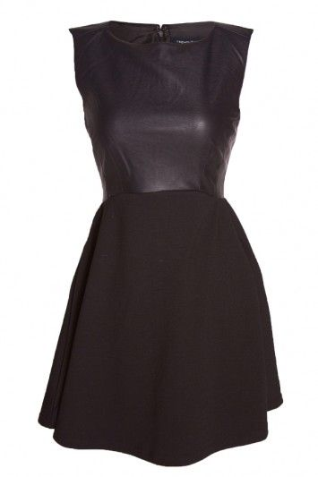 This French Connection dress features the classic silhouette that we love with a fierce leather twist! It gives anyone a perfect hourglass shape. $198 www.bevello.com