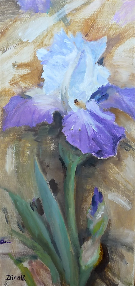✿༻Purple Bearded Iris Original Oil Painting